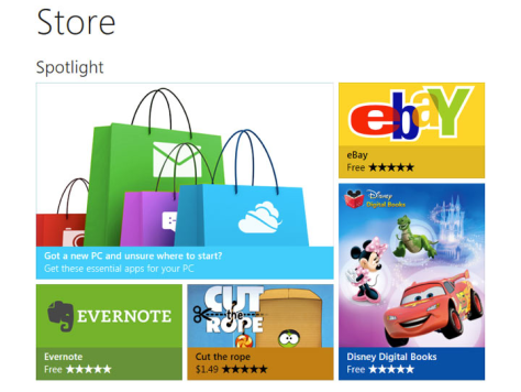 Screenshot of the upcoming Windows Store