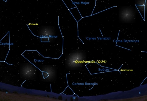 Image: Sky map of first major meteor shower of 2012
