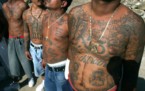 Image: unidentified members of the gang Mara Salvatrucha