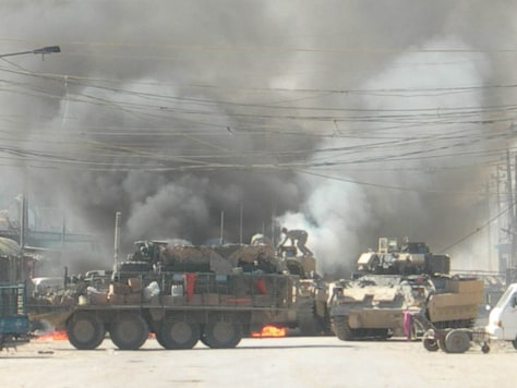 Image: Bradley Infantry Fighting Vehicle on fire