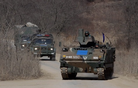 Image: South Korean and US joint military exercises at Mugeon-ri drill field on Paju