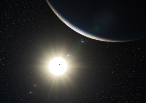 Image: Artist's impression of planetary system around star HD 10180