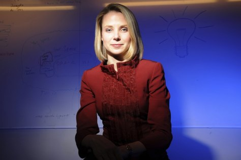Image: File photo of Marissa Mayer posing at Google's Mountain View, California headquarters