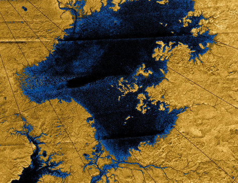 Image: River networks drain into lakes in Titan's north polar region