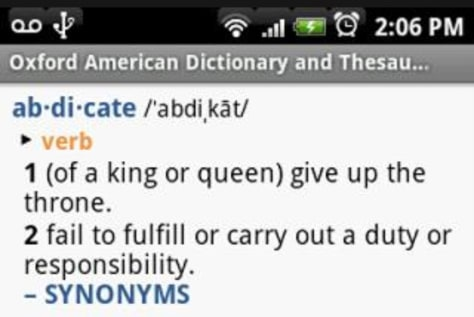 Image: Oxford American Dictionary and Thesaurus for Android