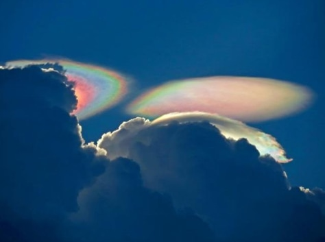 "Image: ""Fire rainbow,"" or iridescent cloud"