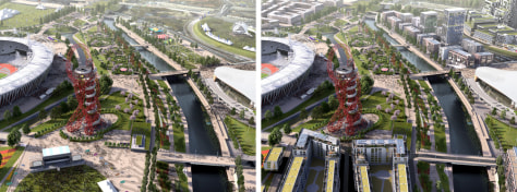 Image: Computer-generated images show how London's Olympic Park may look in 2014, left, and 2030.