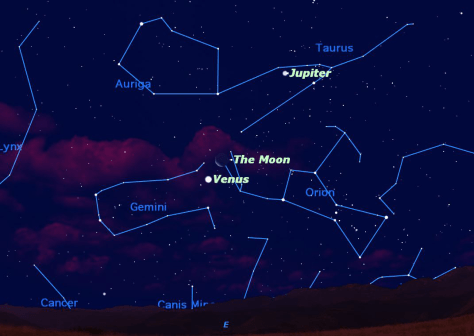 Image: Sky map showing crescent moon, Venus and Jupiter