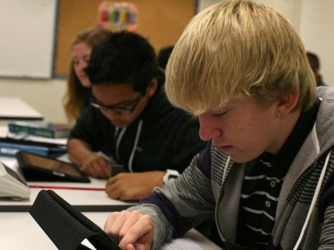 Students at Archibishop Mitty H.S. in San Jose, Calif. use iPads in the classroom.