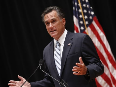 Image: U.S. Republican presidential nominee and former Massachusetts Governor Romney speaks to reporters in Los Angeles