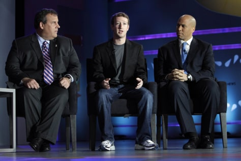 Image: Chris Christie, Mark Zuckerberg, Cory Booker