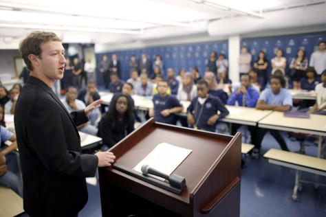 Image: Mark Zuckerberg speaks to students at a Newark high school