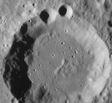 Image: Image from MESSENGER spacecraft of craters on the surface of Mercury.