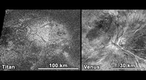 Image: Photos from Titan, left, and Venus