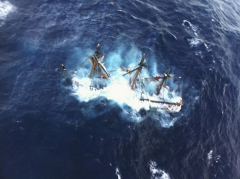 Image: The HMS Bounty is shown submerged in the Atlantic Ocean during Hurricane Sandy approximately 90 miles southeast of Hatteras, North Carolina.