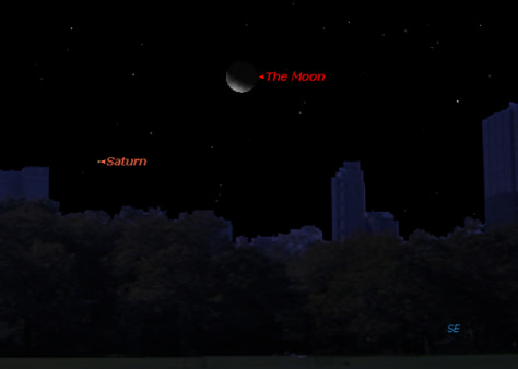 Image: Sky map of Saturn and the moon on Jan. 6, 2013.