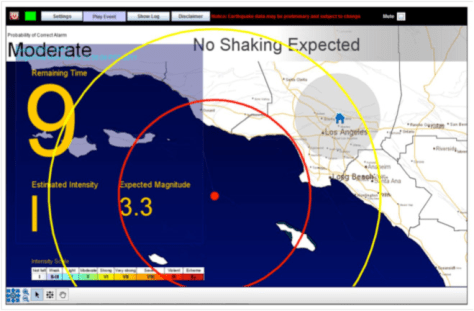 Image: Prototype user interface for a California earthquake early warning system.
