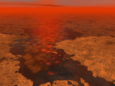 Image: Artist's concept of hydrocarbon ice forming on Saturn moon Titan
