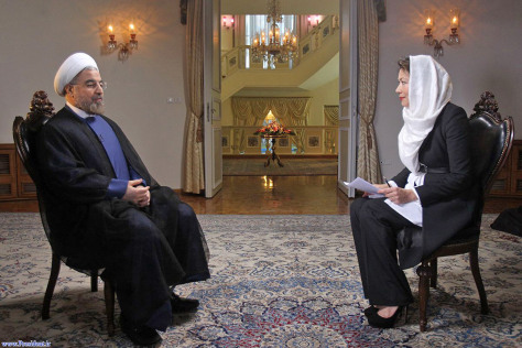 Image: Iranian President Hassan Rouhani speaks during an interview with Ann Curry.