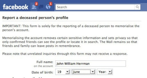 Image: Facebook deceased profile