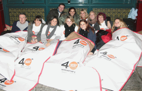 Image: Sleepers waking up at 6 a.m. after Sleep Out 2008 on Nov. 14, 2008.
