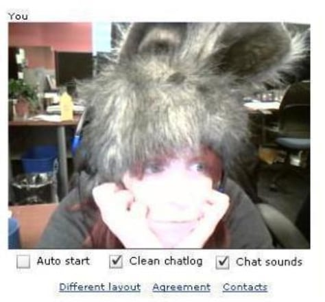 "Believe it or not, people on ChatRoulette will disconnect from ""America's Internet Sweetheart""© Helen A.S. Popkin, even if she's wearing an adorable fuzzy hat with bunny ears."