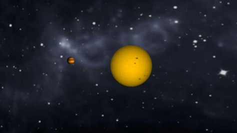 Image: Animation of tidally locked exoplanet CoRoT-1b orbiting its star and changing phases, as our moon does.