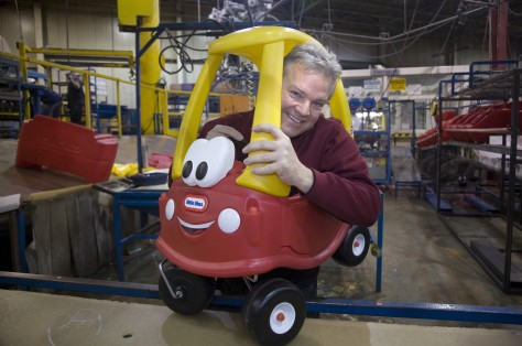 Image: Image: Little Tikes General Manager Tom Richmond and a Cozy Coupe
