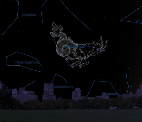 Image: This sky map shows the location of the constellation Capricornus in the October evening sky as viewed from mid-northern latitudes.