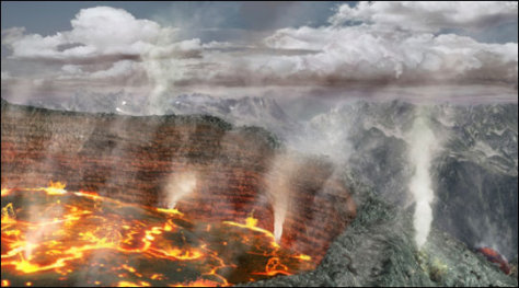 Image: Illustration of a large-scale volcanic eruption