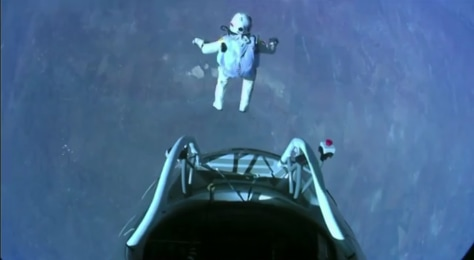 Image: Skydiver Felix Baumgartner makes the highest skydive ever Oct. 14, 2012. He jumped from 128,000 feet (39,000 meters), or about 24 miles up, during the Red Bull Stratos mission.