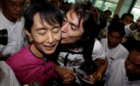 Image: Aung San Suu Kyi and son