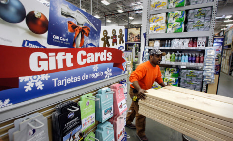 Image: Gift cards on display in Lowe's