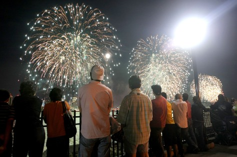 Image: Fireworks burst over New York City on the Fourth Of July