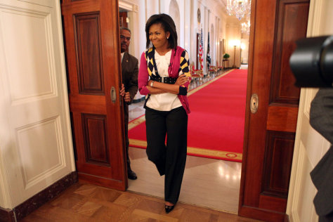 "Image: Michelle Obama arrives for a ""Take Your Children to Work Day"" event at the White House."