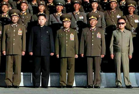 Image: North Korean leader Kim Jong Il with his son Kim Jong Un and soldiers.