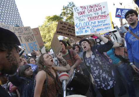 Image: Occupy Wall Street protesters shout slogans as they demonstrate in Foley Square in New York