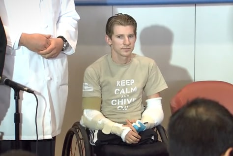 Image: U.S. Army infantryman Brendan Marroco discusses his double arm transplant
