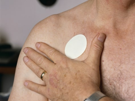 Image: Nicotine Patch on Man's Chest
