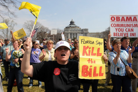 Image: Opponents of health care legislation on eve of vote in March