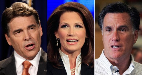 Image: Rick Perry, Michele Bachmann, Mitt Romney