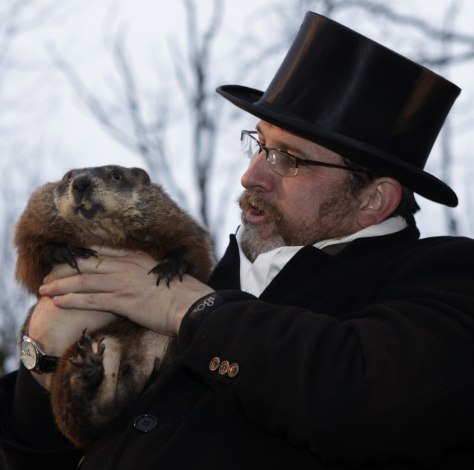 Image: Ben Hughes with groundhog Punxsutawney Phil