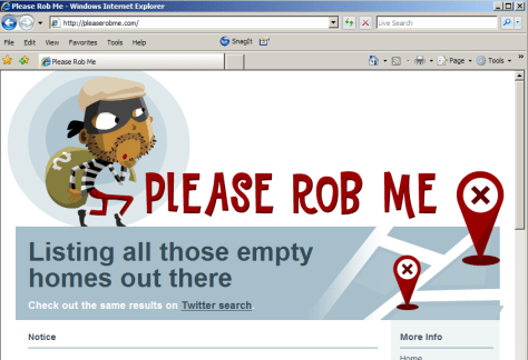 Image: Please Rob Me website