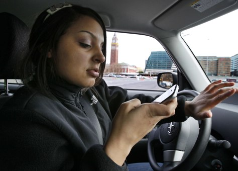Image: Texting and driving demonstration on test course