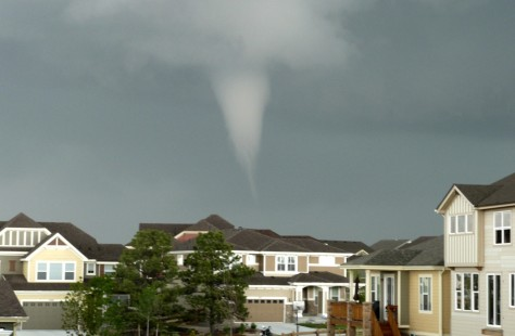 Image: A tornado is seen from Aurora, Colo.