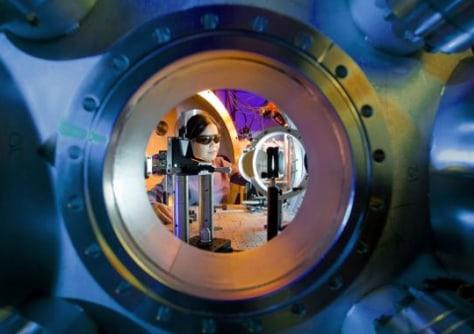 Image: Hui Chen adjusting Titan laser.