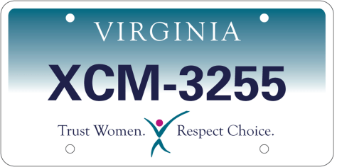 "Image: Virginia ""pro-choice"" license plate"