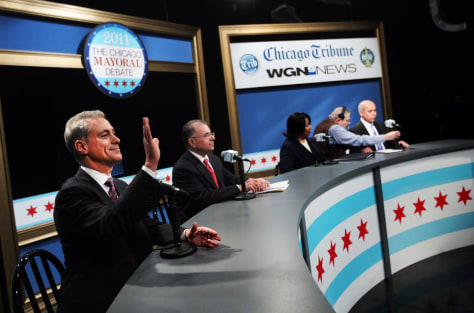 Image: Chicago mayoral candidates, from left, Rahm Emanuel, Gery Chico, Carol Moseley Braun and Miguel del Valle prepare to debate Thursday