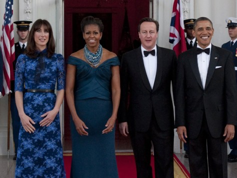 Image: Obamas and Camerons at State Dinner