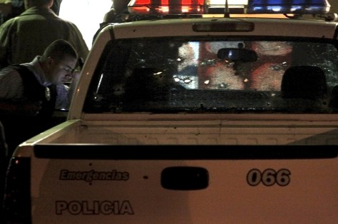Image: Bullet-ridden police truckin Tijuana, Mexico